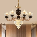 Crystal Candle Chandelier Light Fixture Modern 6 Bulbs Hanging Ceiling Light in Gold and Black