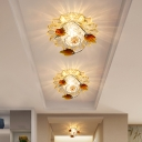 Leave Blue/Tan Crystal Flush Mount Minimalist LED Chrome Ceiling Fixture with Ball Metallic Design in Warm/White Light