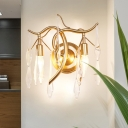 Teardrop Wall Light Fixture Contemporary Clear Crystal 2 Heads Living Room Wall Sconce in Gold with Twisted Arm