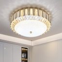 Circle Flush Mount Lighting Simplicity Crystal Rectangle LED Bedroom Ceiling Lamp with Dome Frosted Glass Shade in Gold