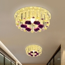 Chrome LED Circle Ceiling Flush Simplicity Crystal Rod Flushmount with Flower Design in Warm/White/Multi Color Light, 7