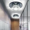 Circular Beveled Crystal Semi Flush Modernist Black/Tan LED Ceiling Flush Mount in Warm/White Light