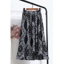 Unique Womens Skirt Paisley Floral Scarf Pattern Pleated High Waist Elastic Maxi A-Line Skirt