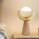 Global White Glass Night Table Lamp Simple 1-Light Beige Desk Lighting with Bowl Mesh Design