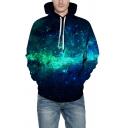Trendy 3D Galaxy Pattern Long Sleeve Unisex Casual Sports Black Hoodie