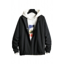 Retro Mens Jacket Elastic Cuffs Zipper Detail Regular Fit Long Sleeve Hooded Casual Jacket with Pockets