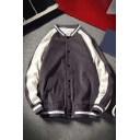 Mens Jacket Stylish Color Block Stripe Trim Cord Button-down Long Sleeve Stand Collar Loose Fitted Varsity Jacket