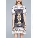 Black Vintage Carriage Print Color Block Round Neck Short Sleeve Mini Swing T Shirt Dress for Women