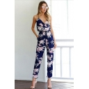 Navy Retro Womens Jumpsuits Flower Pattern Drawstring Waist Surplice Neck Slim Fitted Sleeveless Tapered Ankle Length Jumpsuits