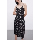 Black Sweet Sleeveless All Over Floral Printed Bow Tie Waist Mid A-Line Cami Dress for Girls