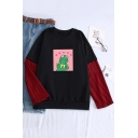 Cute Cartoon Dinosaur Pattern Striped Long Sleeves Round Neck Loose Sweatshirt