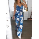 Classic Womens Jumpsuits Leaf Pattern Wide Leg Side High Split Long V-Neck Slim Fitted Sleeveless Jumpsuits