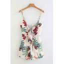 Classic Womens Rompers Leaf Flower Printed Tie Front Zipper-Back Sleeveless Spaghetti Strap A-Line Loose Fitted Rompers