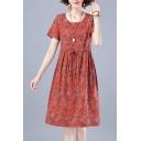 Leisure Womens Ditsy Floral Printed Drawstring Waist Crew Neck Short Sleeve Cotton Linen Midi A-Line Dress