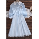 Pretty Ladies Cat Embroidered Striped Long Sleeve Contrasted Turn Down Collar Button Up Mesh Patched Mid A-line Pleated Shirt Dress
