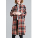Stylish Womens Plaid Printed Long Sleeve Spread Collar Button Up Chest Pocket Sherpa Liner Curved Hem Long Loose Shirt Top