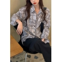 Retro Scarf Print Single Breasted Turn-down Collar Long Sleeve Relaxed Fit Tunic Shirt for Women