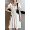 Pretty Womens Solid Color Ruched Square Neck Short Puff Sleeve Mini A-Line Dress