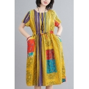 Ethnic Ladies Floral Printed Short Sleeve Round Neck Linen and Cotton Drawstring Waist Mid Oversize Dress