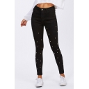 Womens Jeans Black Chic Set Bead Decoration Zipper Fly Ankle Length Slim Fit Tapered Jeans