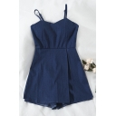 Womens Rompers Stylish Invisible Zipper Back Split Detail Sleeveless Spaghetti Strap Slim Fitted Rompers