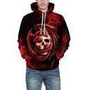 Trendy Red 3D Snake Skull Printed Long Sleeve Casual Chunky Hoodie
