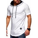 Men's Pleated Short Sleeve Plain Casual Sport Applique Drawstring Hooded T-shirt