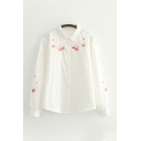Fancy Embroidered Floral Pleated Single Breasted Turn-down Collar Long Sleeve Regular Fit Shirt for Women