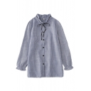 Leisure Womens Stripe Printed Long Sleeve Stringy Selvedge Bow Tied Button Up Loose Fit Shirt in Blue