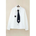 Girls Simple Cat Paw Heart Embroidered Long Sleeve Point Collar Button Up Chest Pocket Loose Fit White Shirt with Tie