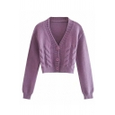 Lovely Girls Solid Color Cable Knitted Long Sleeve V-neck Button Up Relaxed Crop Cardigan