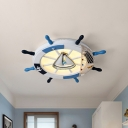 LED Bedroom Flush Mount Light Nautical Blue Close to Ceiling Lamp with Rudder Acrylic Shade