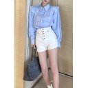 Fashion Ladies Long Sleeve Point Collar Button Up Flap Pockets Relaxed Fit Shirt Top in Blue