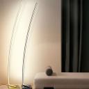 Black/White/Gold Arc Floor Lamp Modernism LED Metal Floor Standing Lighting in Warm/White Light for Sleeping Room