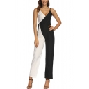 Dainty Jumpsuits Color Block Sleeveless Side Tie Strap Straight-leg Full Length Jumpsuits for Women
