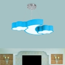 Crescent and Cloud Down Lighting Nordic Style Acrylic White/Pink/Blue LED Pendant Chandelier in Warm/White Light