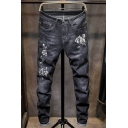 Men's New Trendy Floral Embroidery Regular Fit Rolled Cuff Black Ripped Jeans