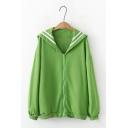Preppy Chic Sailor Collar Long Sleeve Zip Placket Oversized Varsity Sweatshirt Coat