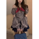 Fancy Girls Plaid Printed Cut Out Puff Sleeve Off the Shoulder Bow Tied Button Up Regular Fit Shirt in Brown