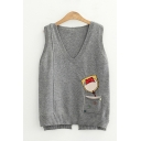 Cute Womens Cartoon Cat Printed Button Detail Pocket Notched Hem Sleeveless V Neck Regular Fit Knitted Pullover Sweater Tank Top