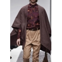 Mens Cape Coat Fashionable Solid Color Woven Mid-Length Loose Fitted Half Batwing Sleeve Cape Coat
