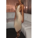 Boutique Gold Glitter Deep V-neck Halter Hollow out Back Mid Bodycon Slip Dress for Party Girls