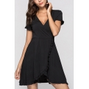 Stylish Solid Color Stringy Selvedge Surplice Neck Short Sleeve Mini A-Line Tulip Dress for Women
