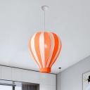 1 Light Playroom Pendant Lamp Cartoon Style Red/Orange/Blue Suspension Lighting with Hot Air Balloon Fabric Shade