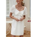 Chic Womens White Sheer Lace Puff Sleeve Sweetheart Neck Tied Front Short Smock Dress
