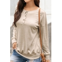 Womens Leisure Solid Color Long Sleeve Round Neck Button Detail Relaxed Fit T Shirt