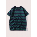 Vintage Mens Tee Top Wide Striped Pattern Crew Neck Relaxed Fit Long Sleeve Tee Top
