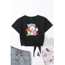 Womens T-Shirt Creative Cartoon Animal Printed Tie-Waist Loose Fit