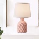 Barrel Fabric Desk Lighting Minimalist 1-Light Pink/Lemon Green/Royal Blue Nightstand Lamp with Bottle-Like Base