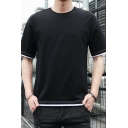 Guys Casual Loose Fashion Patched Hem Round Neck Cotton Plain T-Shirt